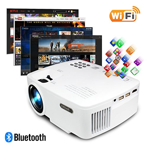 ERISAN Projector Video Home TV Theater, LED Android 6.0 WiFi Bluetooth, 2000 Lumens, Support 1080P Full HD, 2018 Updated Hi-Fi Speaker, Quieter Fan, Mini Smart Video Beam, Multimedia Party Game by ERISAN