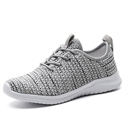 KONHILL Women's Lightweight Sneakers Gold Threads Casual Athletic Sport Walking Running Shoes, Gray, 42 (Shoe Tennis Women)