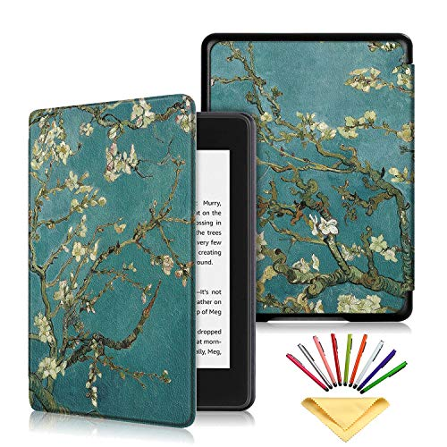 Kindle Paperwhite Case (10th Gen, 2018), Uliking Smart Synthetic Leather Cover with Pencil Auto Wake/Sleep [Almond Blossom by Vincent Van Gogh] Fits for Amazon Kindle Paperwhite 2018, Apricot Flower