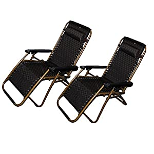 Set of 2: Zero-Gravity Canopy Lawn & Patio Chair with Head Rest - Brown by Shop4Omni