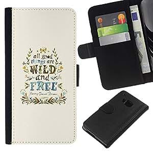 All Phone Most Case / Oferta Especial Cáscara Funda de cuero Monedero Cubierta de proteccion Caso / Wallet Case for HTC One M9 // Wind Free Good Things Blue Wreath