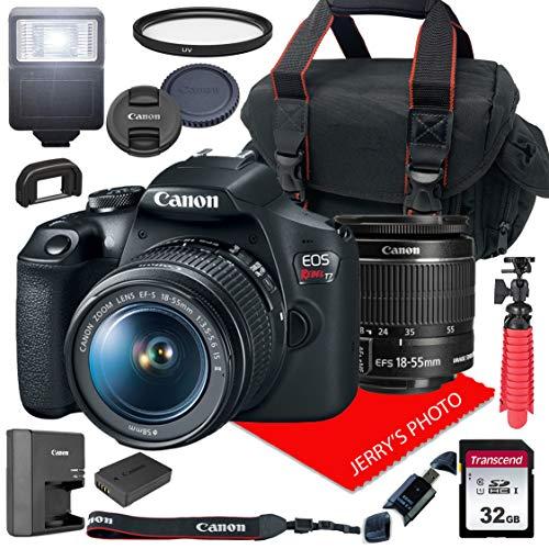 Canon EOS Rebel T7 DSLR Camera w/ 18-55mm F/3.5-5.6 is II Lens + Case + 32GB SD Card (15pc Bundle)
