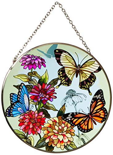 Amia 5681 Large Circle Suncatcher, Butterfly Design, 6-1/2-Inch, Hand-painted Glass -