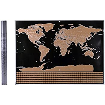 Amazon scratch off world map poster gold foil large size scratch off world map poster gold foil large size 325 x 235 in gumiabroncs Gallery