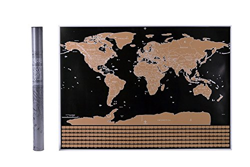 Scratch Off World Map Poster - Gold Foil, Large Size ( 32.5 X 23.5 in) with outlines of US States + 252 Countries Flags. Includes Scratch Pen, Protective Tube. Track - Place Hamilton Map