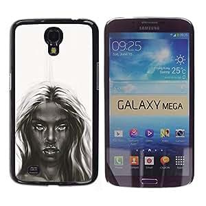 Caucho caso de Shell duro de la cubierta de accesorios de protección BY RAYDREAMMM - Samsung Galaxy Mega 6.3 - Oscuro Belleza - B & W Chica
