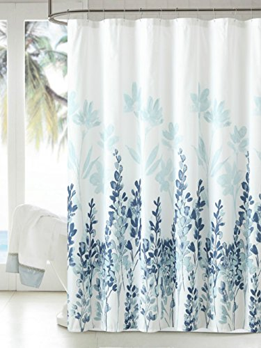 Window Bathroom Fabric Curtain (MangGou Fabric Shower Curtain,Japanese Style Flowers Shower Curtain Liner,Waterproof Polyester Bathroom Curtain With 12 Hooks,Mildew resistant,Machine Washable,Teal & Blue,72 x 72 inch)