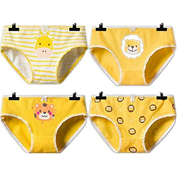 dc6f7ef1bb1 YOMORIO Girls Cute Anime Panties Comfort Animal Printing Underwear Yellow  Cotton Briefs for Women