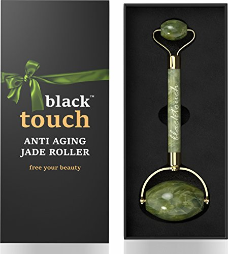 Jade Roller for Face - Anti Wrinkle 100% Natural Jade Stone Roller - Anti Aging Skin Slimming Massager - Original Real Double Jade Facial Roller - Massage Therapy Tool for Neck and Eyes Beauty