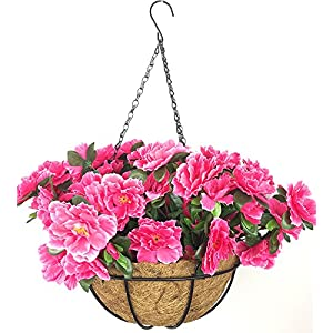 Lopkey Outdoor/Indoor Silk Big Flower Decor Artificial Azalea Bush Flower Patio Lawn Garden Hanging Basket with Chain Flowerpot,Rose Red 13