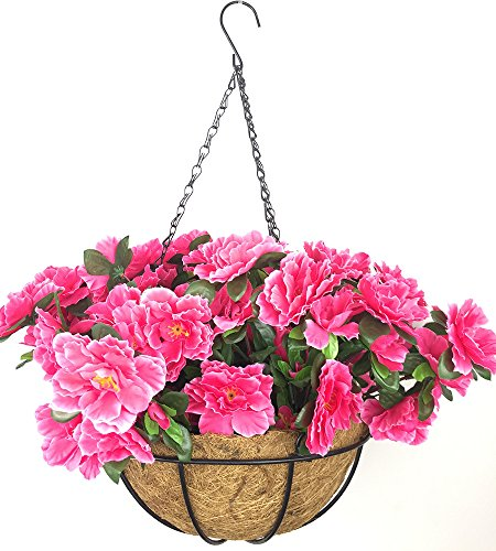 Lopkey Outdoor/Indoor Silk Big Flower Decor Artificial Azalea Bush Flower Patio Lawn Garden Hanging Basket with Chain Flowerpot,Rose Red ()