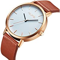 Watch Womens Unisex Simple Casual Leather Waterproof Analog Quartz Dress Wrist Watch