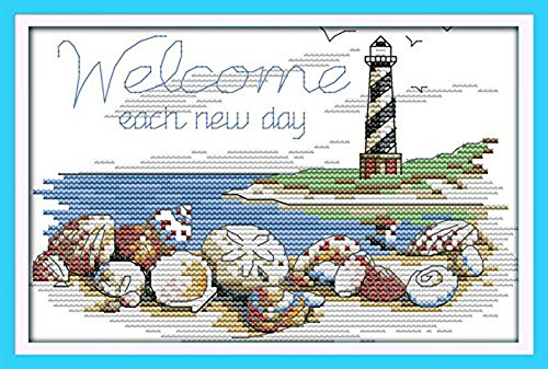 Cross Stitch Lighthouses - Astitch Stamped Cross Stitch Kits Shells of the lighthouse