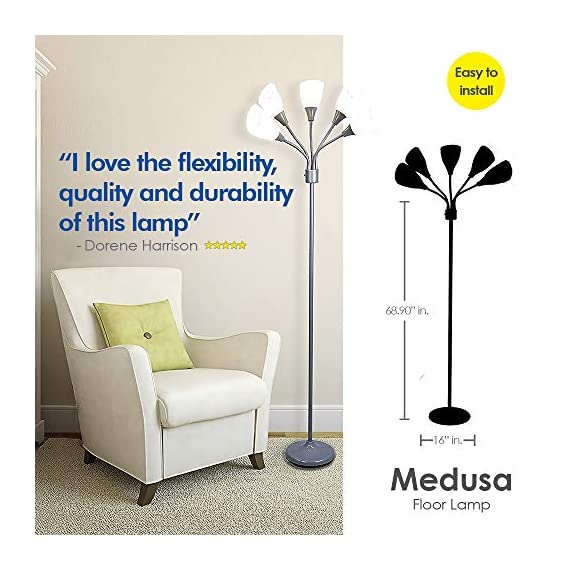 Modern Floor Lamp Room Light by Lightaccents - Medusa Multi Head Standing Lamp Bedroom Light with 5 Positionable White Acrylic Reading Shades Room Light (Grey) - GOOSENECK FLOOR LAMP WITH WHITE ACRYLIC SHADES: Made from durable metal with a painted Grey finish, this floor lamp features white shades offering a modern style. PERFECT FOR USE AS A LIVING ROOM FLOOR LAMP, KID'S ROOM FLOOR LAMP, OR DORM ROOM ADJUSTABLE FLOOR LAMP: The white shades give this floor lamp a unique look and make it perfect for use in any kid's room, living space, or dorm room. FLEXIBLE FLOOR LAMP, KID'S ROOM FLOOR LAMP, OR DORM ROOM FLOOR LAMP: The multicolored shades give this floor lamp a unique look and make it perfect for use in any kid's room, living space, or dorm room.ADJUSTABLE GOOSENECK - living-room-decor, living-room, floor-lamps - 51KSo tS2 L. SS570  -