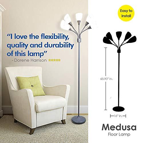 Light Accents Medusa Grey Floor Lamp with White Acrylic Shades by LIGHTACCENTS (Image #4)