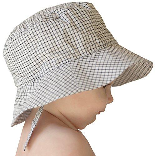 Hat Cap Windowpane (Huggalugs Baby Toddler Boys Black & White Plaid Sun Hat UPF 25+ 6-12m)