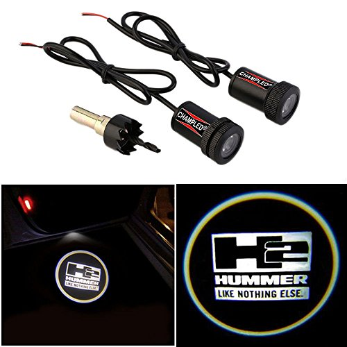 Champled For H2 Hummer Laser Projector Logo Illuminated Emblem Step Courtesy Light Lighting Symbol Sign Badge Led Glow Motorcycle Performance Tuning Accessory
