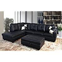 Golden Coast Furniture Modern Style Sleeper Futon Sofa, Living Room L Shape Sectional Couch with Chaise Lounge (Black)