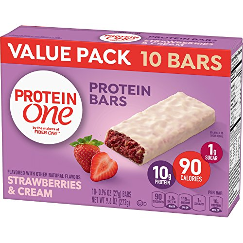 Protein One 90 Calorie Protein Bars, Strawberries & Cream, 10 Count, (Pack of - Fiber 1g