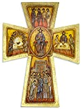 Large Byzantine Wall Cross with Gold Leaf and Wall Hook - Made in Italy