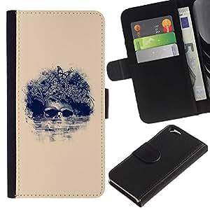 LECELL--Cuero de la tarjeta la carpeta del tirón Smartphone Slots Protección Holder For Apple Iphone 6 -- Cráneo floral de la mariposa --