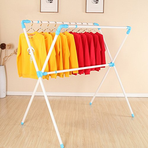 Drying Racks Landing Foldable Double Pole Type X Hanger Balcony Mobile Quilt Frame -clothes drying rack folding indoor (Color : Blue and white)