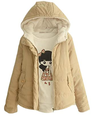 bd0db616df999 Amazon.com  Cromoncent Women s Winter Thick Fleece Hooded Quilted Puffer  Parka Coat Jacket  Clothing