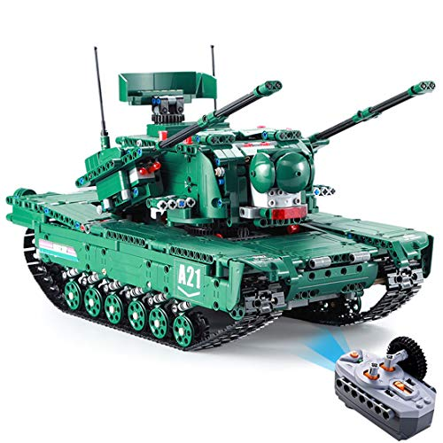 WOLFBUSH Remote Control Tank Building Kit, WOLFBUSH 1498Pcs 1:20 2.4G 2-in-1 Tank Building Bricks Radio Control Toy DIY Assembly Educational Toy - M1A2 Tank from WOLFBUSH