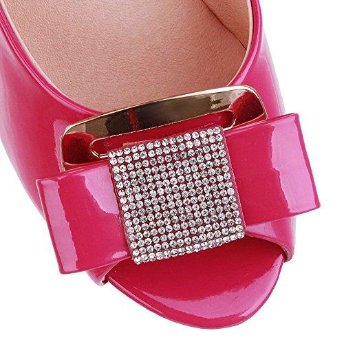 Voguezone009 Donna Open Peep Toe Tacco Alto Stiletto Pu Pelle Verniciata Pantofole Solidi Con Bowknot Pesca