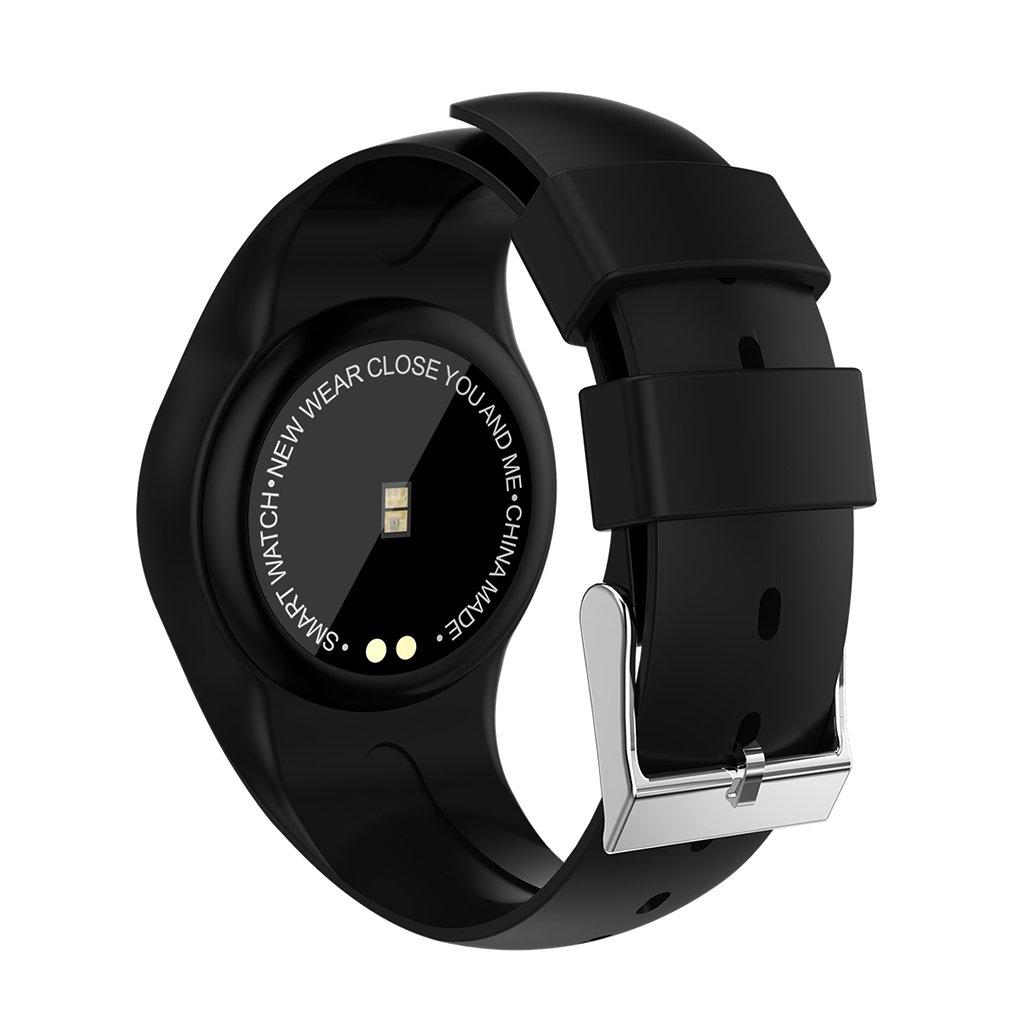 Am Besteen Eignungs-Verfolger-Tätigkeits-Verfolger mit Pulsmesser-Uhr-wasserdichtem intelligentem Armband mit Schritt-Gegen-Pedometer-Uhr für Kinderfrauen Männer (Farbe : Schwarz)
