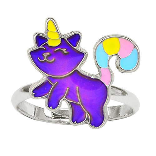 Fun Jewels Fairy Tale Cute Caticorn Unicorn Cat Color Change Kids Mood Ring For Girls Size Adjustable