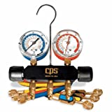 CPS Products MBHP5E Black Max Professional A/C Manifold Set, 5' Valve Hoses; psi and F Gauges