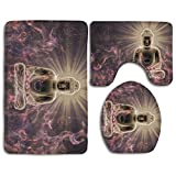 Holy Purple Rays Muse 3 Piece Bathroom Mats Set Flannel Non-Slip Bathroom Rugs Contour Mat Toilet Cover