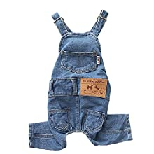 """MuYaoPet Dog Denim Jumpsuit Costumes Cat Pet Jean Overalls Clothes for Yorkie Bulldog (S(Bust 9.80"""" Back 9.4""""), Blue)"""
