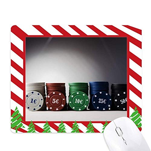 - Chip Card Game Gambling Photo Mouse Pad Candy Cane Rubber Pad Christmas Mat