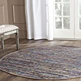 Safavieh RAR121E-4R Rag Rug Collection Hand Woven Rust/Multi Cotton Round Area Rug, 4-Feet in Diameter