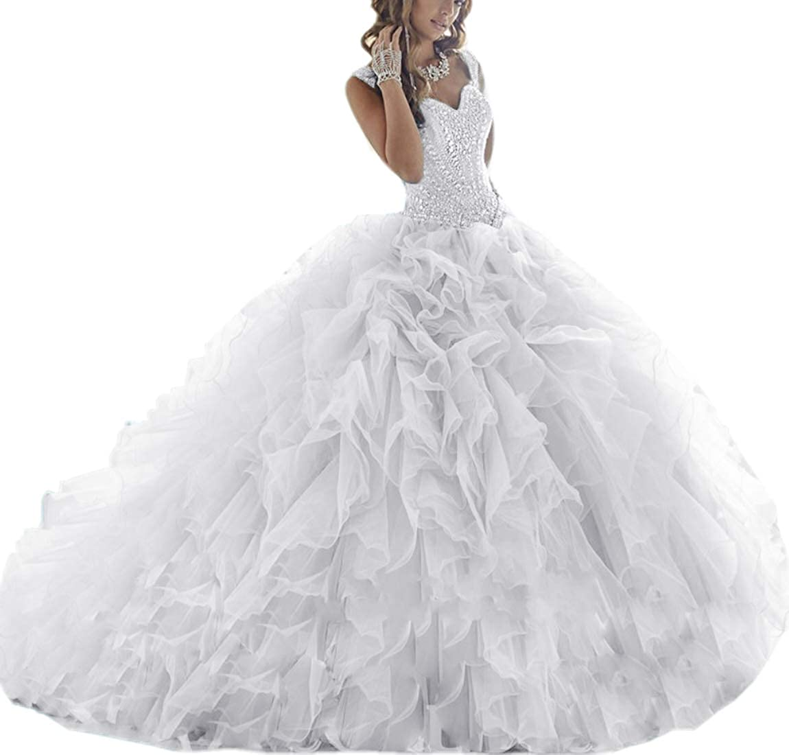 White APXPF Women's Crystals Beaded Organza Ruffle Quinceanera Dress Sweet 16 Ball Gown Prom Dress