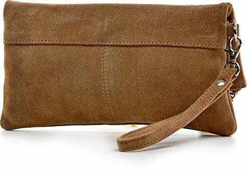 CNTMP - bolso para señora, clutches, clutch, bolsos de mano, bolsos, bolsos de fiesta, bolsos de tendencia, gamuza, ante, bolso de cuero (pequeños, beige), 21x12x2,5cm (l x an x a)