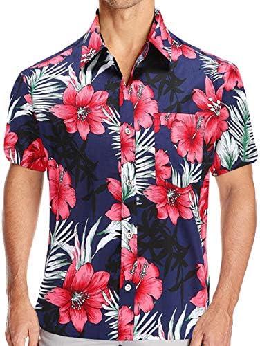 MANLUODANNI MEN'S FLOWER CASUAL BUTTON DOWN SHORT SLEEVE HAWAIIAN SHIRT