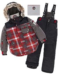 Deux par Deux Boys' 2-Piece Snowsuit Lumberjack Black, Sizes 5-14