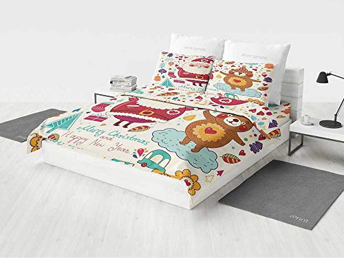 Christmas Decorations Bedding Set Queen Size Santa and Teddy Bear Vintage Christmas Ornaments Party Kids Nursery Decor Printing Four Pieces of Bedding Set Multi -