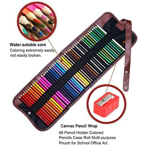 Soucolor 48 colours Artist Grade High Quality Watercolour Pencils Set with Pencil Holder Sharpener Eraser