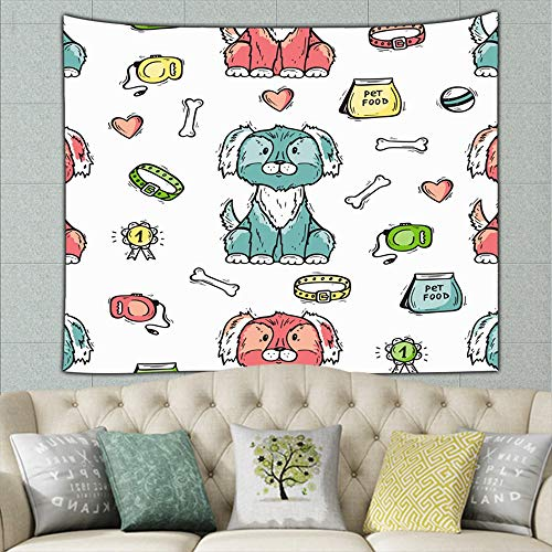 DWone Hat Pet Shop Hand Drawn Animals Food Objects Tapestry Wall Hanging Tapestries Black & White Wall Blanket Wall Art for Living Room Bedroom Home Decor 50