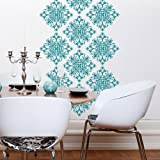 "Byrdie Graphics Scroll Damask Vinyl Wall Decals Stickers for Home Bedroom wall Decor Art [Set of 18] - 11"" x 11"""