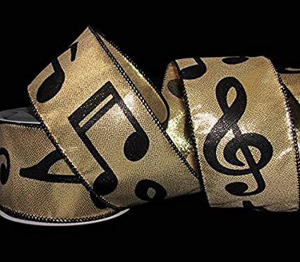 """10 Yards Music Notes Silver Black Musical Musician Christmas Wired Ribbon 2 1//2/"""""""