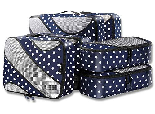 6 Set Packing Cubes,3 Various Sizes Travel Luggage Packing Organizers (Navy Dot) (Panel 4 Full Piece)