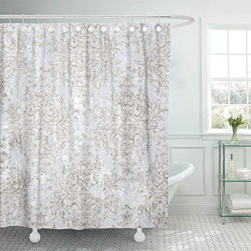 (PAUSEBOLL Aged Olive Vintage Toile Antique Delicate Detailed Elegant Formal Shower Curtain Bathroom with Hooks,Waterproof Polyester Curtain )