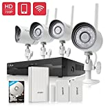 Funlux 4CH NVR 720p HD 1.0 Megapixel 1280 x 720 Wireless Security Camera System Outdoor Indoor 500GB Hard Drive with Wifi Extender Hub and 2 Pack Door/Window Sensors