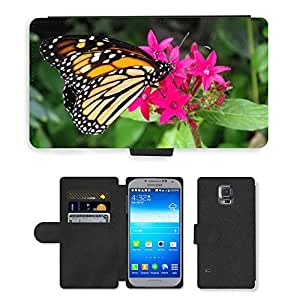 PU LEATHER case coque housse smartphone Flip bag Cover protection // M00116802 Insecto Mariposa BaboÄ ?? kovità // Samsung Galaxy S5 S V SV i9600 (Not Fits S5 ACTIVE)