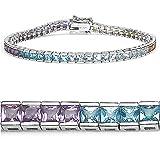9.25 Carat Princess-cut Amethyst, Blue Topaz & Citrine Silver Bracelet